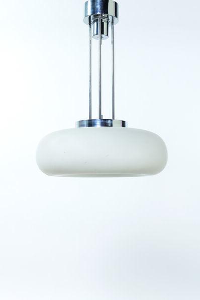 "Fontana Arte, '""2356"" Ceiling lamp in chromed metal and opalin glass', 1964"