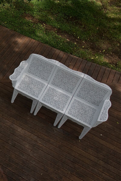 Estudio Cabeza, 'Lace cloth set of chairs (right, central and left-side versions)', 2008