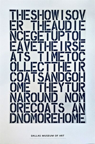 Christopher Wool, 'Rare limited edition, discontinued poster from Dallas Museum', 2000