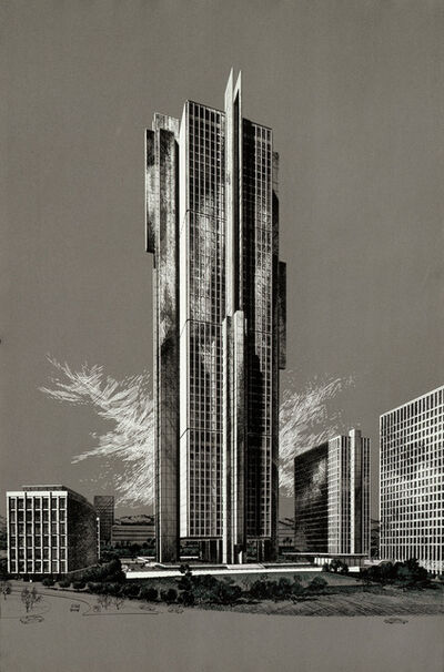 Carlos Diniz, 'Theme Building - Century City (Grey), Welton Becket Architect', 1963