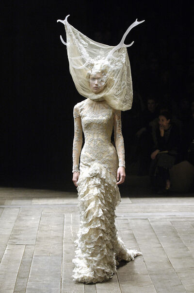 Alexander McQueen, 'Tulle and lace dress with veil and antlers', 2006–2007