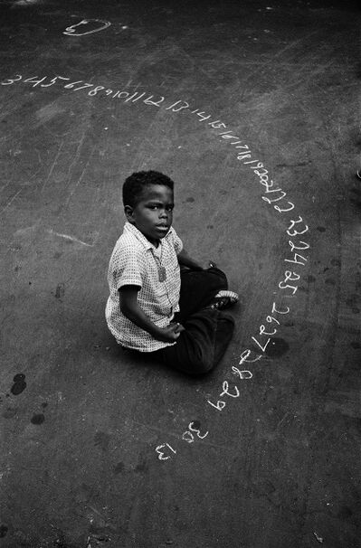 Harold Feinstein, 'Boy with Chalked Numbers, NYC', 1956