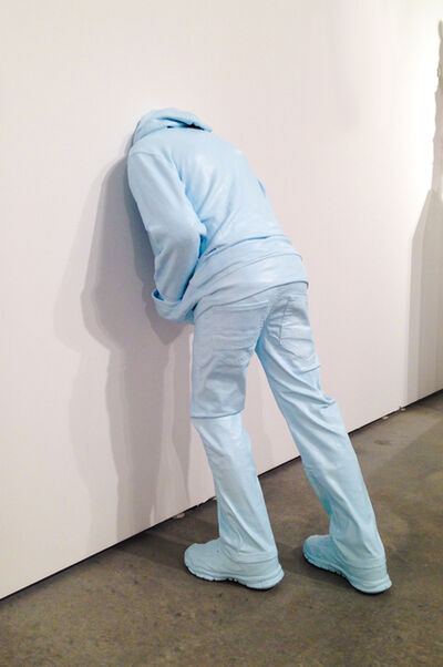 Mark Jenkins, 'Head in the Wall (child), blue', 2017