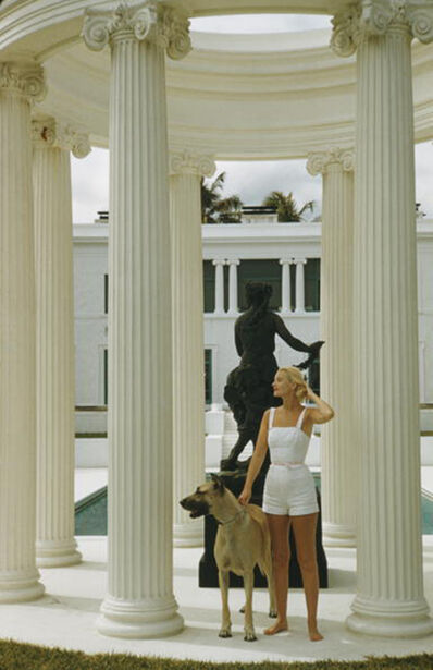 Slim Aarons, 'C.Z. Guest, 1955: The American socialite with a Great Dane at her ocean-front estate, Villa Artemis, in Palm Beach', 1955