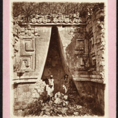 Augustus Le Plongeon, '[Alice Le Plongeon and workers in the south arch of the Governor's Palace, Uxmal]', 1873