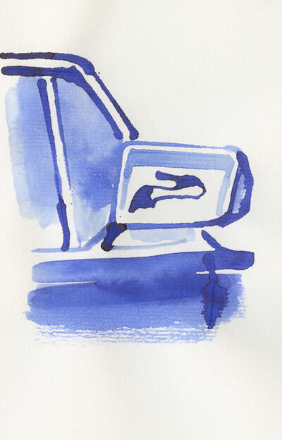 Christoph Niemann, 'Stiletto in a car mirror'
