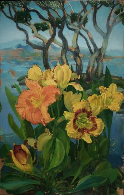 Benjamin J. Shamback, 'Day Lilies and Grove of Trees', 2018
