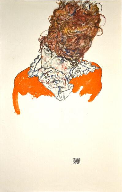 Egon Schiele, 'Portrait Study: Mrs E. Sch.Verlag Eduard Strache, Vienna, Prague, Leipzig', 1920