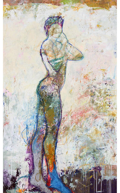 """Jylian Gustlin, '""""Juno 1"""" Mixed Media Figurative Painting with Bright colors and White', 2010-2018"""