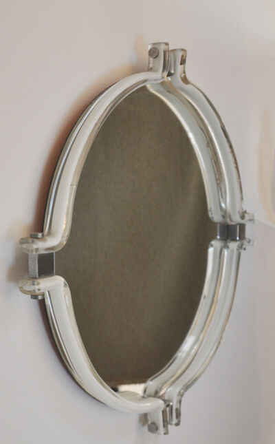 Mazzega, 'Mirror with framing in lattimo glass and metal', ca. 1965
