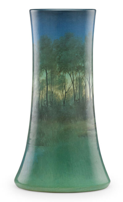 Carl Schmidt, 'Large Scenic Vellum vase with forest and lake, Cincinnati, OH', 1919