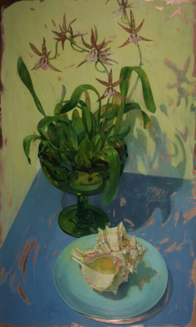 Benjamin J. Shamback, 'Charles Fitch Orchids in Green Footed Bowl', 2017