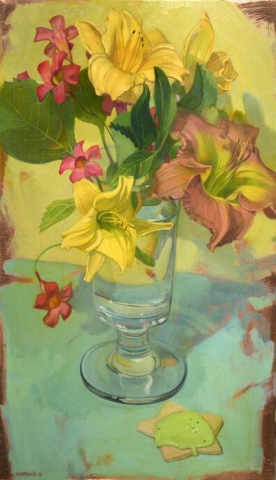 Benjamin J. Shamback, 'Day Lilies and Mandevilla on Blue', 2017