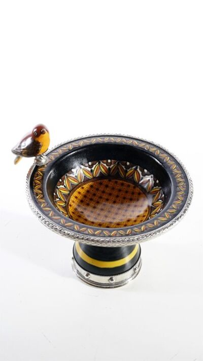 Jesus Guerrero Santos, 'Ceramic and White Metal  Bowl with Bird Centrepiece', 2019