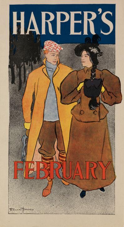 Edward Penfield, 'Harper's February - Couple Walking', 1896