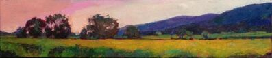 """Larry Horowitz, '""""Napa Hillside"""" oil painting of California landscape, green field and pink sky with dark mountains', 2017"""