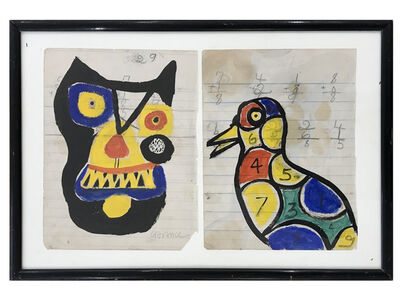 Untitled (Notebook Pages with Cat and Bird)