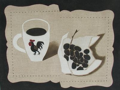 Mug and Grapes Stencil Cut