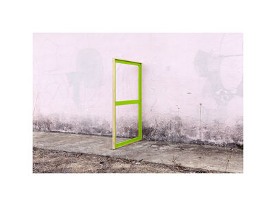Green Stretcher on a Pink Wall  AP#1/1 (with unique stretcher)