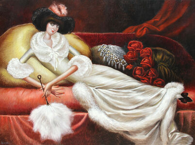 Reclining Woman in Fur Housecoat