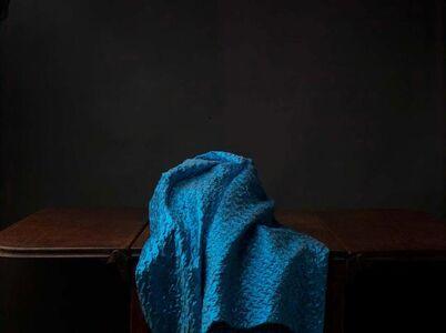Empty Still Life with Blue Cloth