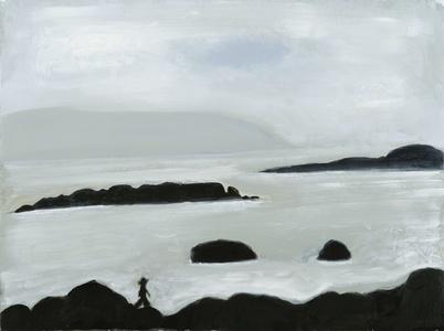 Man Walking Rocks At Sea