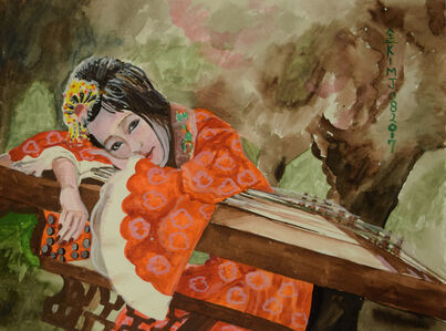 Asian Woman Playing Music II