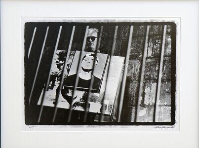 Andy Warhol with Self Portrait & Race Riot Sandwich Boards I