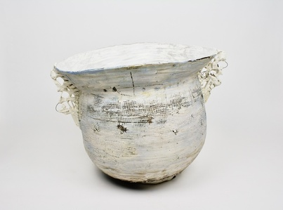 Pale Blue Urn w/Ornate Handles
