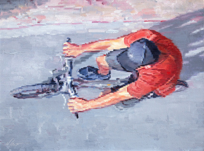 Aerial View of Man in Red Shirt Riding Bicycle
