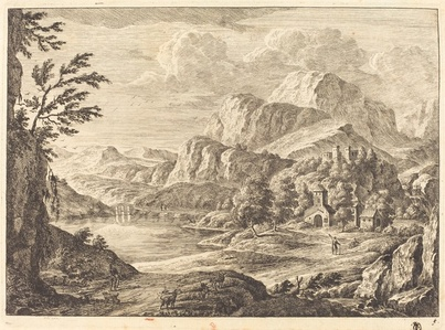 Mountainous Landscape with a Ruined Castle and an Arched Bridge in the Distance