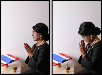 Self-Portrait with Double South Sea Pearl Earrings, Diptych