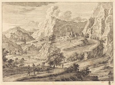 Mountainous Landscape with Figures and a Monastary
