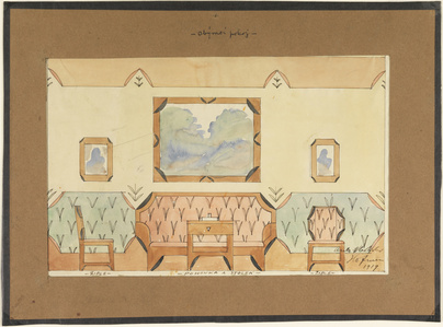 Elevation Design for a Sitting Room with Sofa, Two Chairs, and Table