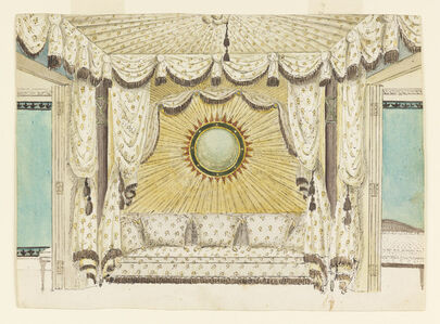 Design for Bed with Tented Alcove, probably for the Prince of Wales's Bedroom or Boudoir, Royal Pavilion, Brighton