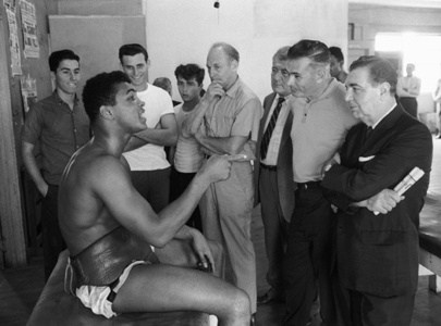 Cassius Clay with Newspaper Sports Writers, Fifth Street Gym, Miami