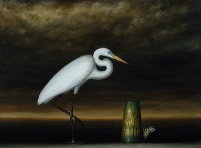 Egret and Landscape Vase