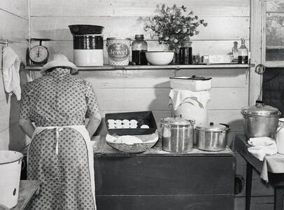 A Member of the Wilkins Family Making Biscuits for Corn Husking Day, Tallylto, NC