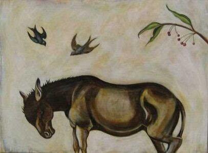Donkey and Blue Birds