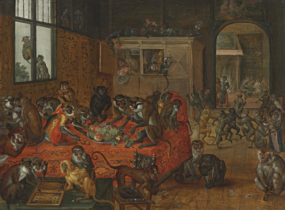 Monkeys playing games, eating and dancing in an interior