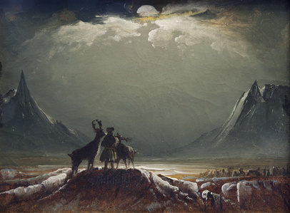 Landscape from Finnmark with Sámi and Reindeer