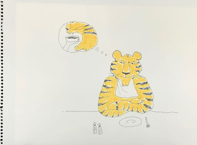 Untitled (tiger at the table)