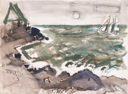 Green Sea, Rocks and Boat, Cape Split, Maine