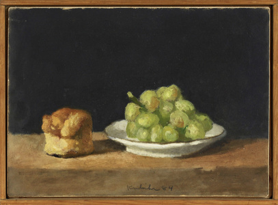 Plate of Green Grapes and Soda Biscuit