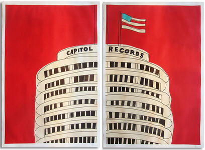 Red Capitol Records Diptych