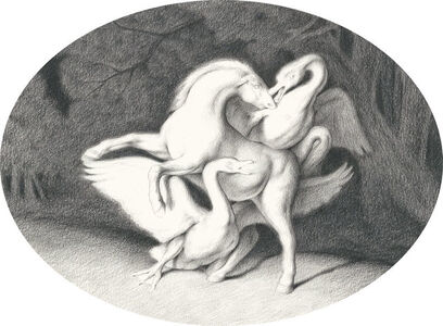 Horse with Two Swans