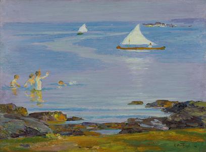 Boy Bathers and Sponson Sail