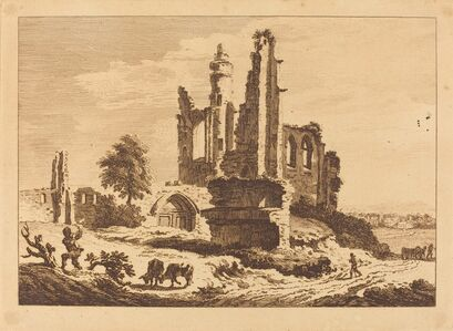 Landscape with Boy and Cows at Left, Ruin at Right Center