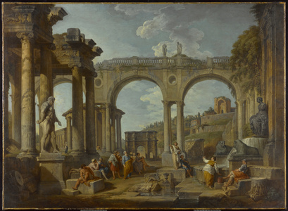 A Capriccio of Roman Ruins with the Arch of Constantine