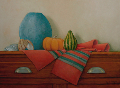 Gourds with Blue Vase